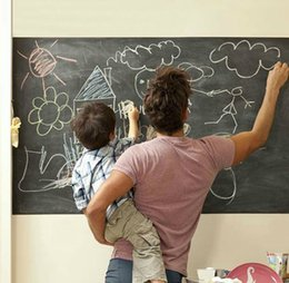 Wholesale Popular Wall Paintings - Free Fedex Ship Popular Removable Blackboard Sticker school Vinyl Chalkboard Wall Sticker painting sticker WITH 5 COLOURED CHALKS 45x200CM