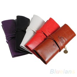 Wholesale Leather Pen Pouches Wholesale - Vintage Retro Luxury Roll Leather Make Up Cosmetic Pen Pencil Case Pouch Purse Bag for School WJ010