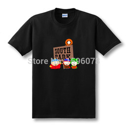 Wholesale Mens Patterned Tees - Wholesale-New Summer Fashion Cotton Pattern T Shirt Mens Clothing Cartoon Sitcoms SOUTH PARK TShirt With Short Sleeve Top Tees