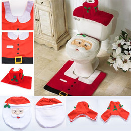Wholesale Toilet Seats Covers Soft - Happy Santa Toilet Seat Cover Rug Tank & Tissue Box Cover Xmas Gift ornaments enfeites de natal papai noel for Bathroom Decoration OTH090