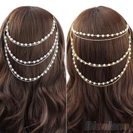 Tocado de cadena de perlas online-Celebrity Boho Pearl Headband Tassel Headpiece Cadena de pelo peine del pelo Joyería 1OYX