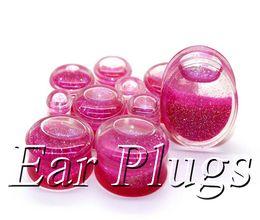 Wholesale Liquid Glitter Plugs - Wholesale transparent acrylic pink glitters liquid plug gauges saddle ear plug double flare ear expander mix 10mm-25mm 48pcs lot DSP159