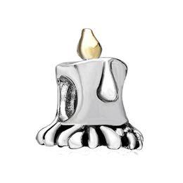 Wholesale large candles wholesale - 10pcs per lot Happy Birthday two tone Plating candle bead 5mm large hole Fits Pandora Charm Bracelet