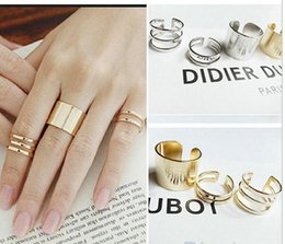 Wholesale Wholesale Midi Ring - 3Pcs Set Fashion rings Top Of Finger Over The Midi Tip Finger Above The Knuckle Open Ring 04NH