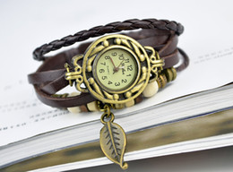 Wholesale Owl Pendant Watches - Women Leather Wrist Watch charm Bracelet Retro Vintage Owl Pendant Weave Wrap Quartz 9 Colors