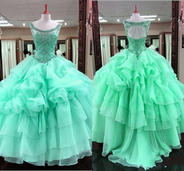 Wholesale Teen Skirts - Green Ball Gown Quinceanera Dresses Scoop Major Beading Ruffles Skirt Sexy Back Lace Up Girls Pageant Dress For Teens Tulle Party Gowns