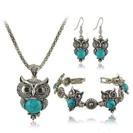 Conjunto de joyas de turquesa online-Arican Beads Jewelry Set Collar Pendientes Pulsera Turquesa Vintage Conjuntos de Joyas Conjunto de Joyas de búho Collar nupcial Accesorios