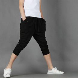 Wholesale Men Big Crotches - Wholesale-Male Soft Cotton Blend Pocket Casual Trousers Big Drop Crotch Sweatpants Dance Hip Hop Men Jogger Harem Pants Plus Size PC853394