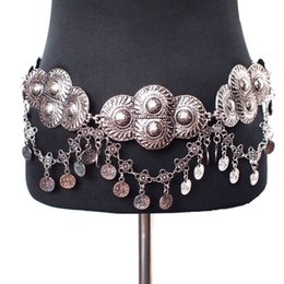 Wholesale Gold Metal Plate Belts - Bohemia Gypsy Beachy Chic Vintage Silver Plated Metal Belts 2016 Fashion Women Wide Coin Big Cummerbunds Costume Accessories