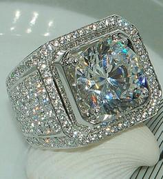 anillos de plata de ley para niños Rebajas Anillos de diamantes de piedra completa para los dedos Anillos de bodas de plata esterlina de los niños micro Pave Handsome para el tamaño 8-13 de los hombres