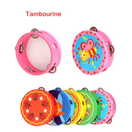 Wholesale Kids Musical Bells - Hand Held Tambourine Drum Bell Cartoon Pattern Wooden Percussion Musical Toy for KTV Party Kids Top Quality I572