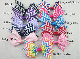 Wholesale chevron accessories - 18%OFF 3inch chevron hair bows,baby girls ribbon hair bow Without Clip, children hair accessories 50pcs lot free shipping