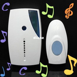 Wholesale Wholesale Door Bells - White Portable Mini LED 32 Tune Songs Musical Music Sound Voice Wireless Chime Door Room Gate Bell Doorbell + Remote Control