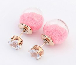 Wholesale Transparent Pink Crystal Glass - Summer Style Glass Stud Earring For Women Pearl Jewelry Fashion Transparent Crystal Ball Earrings Mix Colors HQ