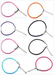 Wholesale Charm Hand Chain Bracelets - 3mm Hand Made Adjustable Chains Europe PU Braided Leather Bracelets 925 Silver Plating Obster Clasp Link Bangles for Women Men Free Shipping