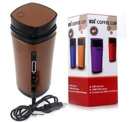 Wholesale Cup Off - Free shipping 130ml 3W Portable Rechargeable USB Powered Coffee Tea Warmer Mug Cup w Automatic Stirring+Heat+OFF