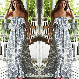 Wholesale Maxi Dress Sexy Party - Wholesale-Sexy Women Party Floral Beach Dress Boho Off-shoulder Maxi Long Dress UK