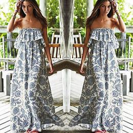 Wholesale Gray Boho - Wholesale-Sexy Women Party Floral Beach Dress Boho Off-shoulder Maxi Long Dress UK