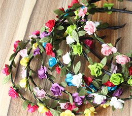 Wholesale Artificial Diamond Flowers - Bohemian Styles Artificial Rose Flower Headband Seaside Beach Holiday Shoot Decoration Prop Headpiece Jewellery Free Shipping