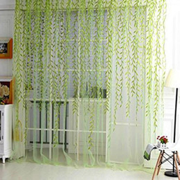 Wholesale Embroidered Tulle Curtains - Home Textile Tree Willow Curtains Blinds Voile Tulle Room Curtain Sheer Panel Drapes for bedroom living room kitchen