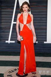 Wholesale Miranda Kerr - 2016 Miranda Kerr Sexy Celebrity Dresses Oscars 88th Academy Awards Deep v neck High Side Split backless Red Formal Party Evening Gowns