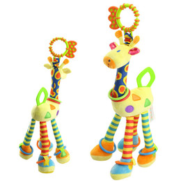 Wholesale Giraffe Teether - Wholesale- Baby Toy Giraffe Animal Handbells Plush Infant Baby Development Soft Rattles Toys Hot Selling With Teether