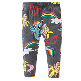 Wholesale Kids Spring Horses - 2017 New Leggings for girl Kids Pants Cartoon Rainbow Horse Elastic Tights Cotton Girls clothing 2017 Autumn Spring 2T-7T