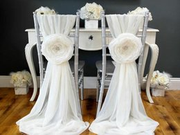 Wholesale Wholesale Flower Chair Covers - New Arrival Chiffon Crystal Big Flower Romantic Beautiful Wedding Supplies Decorations Chair Sash Wedding Events Chair Covers
