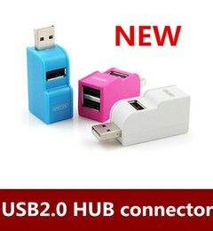 Wholesale Usb Hub Extension Free Shipping - NEW 2pcs lot Free shipping 3 port USB2.0 Mini USB HUB extension connector White Blue Pink order<$18no track