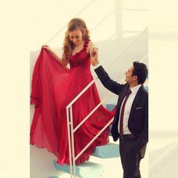 Wholesale Wedding Dresses V Neck Satin - Saudi Arabia Long Wedding Dresses Chiffon Appliques Vestido De Noiva Red Bridal Gowns 2016 Backless Off Shoulder Casamento Wedding Dress