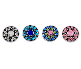 Wholesale Round Rhinestone Buttons 12mm - snap button 12mm noosa style Hot sale Noosa button DIY style mixed rhinestone round personality Nusa jewelry accessories free shipping