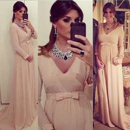 Wholesale Chiffon Vintage Bow - 2017 blush Chiffon A Line Evening Dresses With Long Sleeves New Elegant V Neck Maternity Pregnant Clothing Sash Bow Special Occasion Gowns