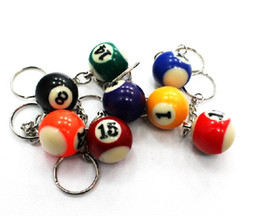 Wholesale Key Chain Puzzles - Creative Billiards key chain ring beautiful small gifts snooker jewelry pendant puzzle toy Factory directly sales 16pcs