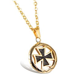 Wholesale Two Chains Circle Pendants - Two Color Circle Cross Pendant Popular Titanium Steel Women Men Personality Necklace Jewelry Classical Design Birthday Gift