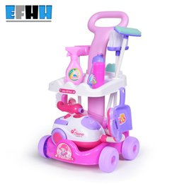 Wholesale Electric Carts - EFHH Simulation Cart Cleaning Tool Plastic Vacuum Cleaner Electric Appliances Toy Set for Gril Kid Education Toy Drop Shipping
