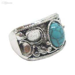 Wholesale Gemstone Silver Rings Designs - Brand New 24pcs Lot Mixed Vintage Gemstone Rings Elegant European Rings Turquoise Rings New Design TR013