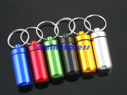 Wholesale 50pcs Aluminum pill box case pill container stash boxes keychain key chain pill holders medicine case pill Bottle organizer