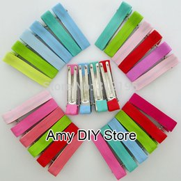 "Wholesale Ribbon Lined Clips Double Prong - 40 Colors Available NEW 1.9"" Double Prong Ribbon Lined Alligator Clips For DIY Ribbon Hair Bow Accessories Hair Flower 80pcs lot"