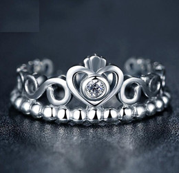 Wholesale Sterling Silver Rhinestone Rings - Fashion Jewelry Ring Women Ring European Pandora Style Charm Ring High-quality 100% 925 Sterling Silver Princess Tiara Ring with Clear