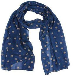 Wholesale Chiffon Headscarf - Wholesale- 100% Brand New and High quality Women Polka Dot Floral Chiffon Soft Shawl Scarf Wraps Stole Headscarf Navy Green High Quality