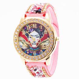 Genf rhinestone-legierungsuhr online-Heiße Genf-Rhinestones-Stein-Uhr-Samt-Gurt-Wölbungs-Uhr-Luxus-Diamant-Frauen-Legierungs-ethnische Quarz-Uhren-runde antike Armbanduhr
