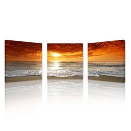 Wholesale Beach Panel Wall Art - 3pcs Sunset Canvas Print For Home Decoration,Canvas Artwork Seascape Beach Modern Painting Wall Art Picture Print on Canvas