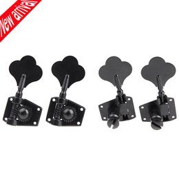 Wholesale Tuner Pegs - Wholesale- 4pcs set 4R Black Electric Bass Tuners Machine Heads Tuning Pegs Keys Set With Mounting Screws & Ferrules Guitar Parts
