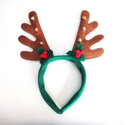 Wholesale Reindeer Antlers Wholesale - Boys Girls Christmas decoration hairband party supplies Reindeer Antler Santa Hat Christmas hat hoop Green Red Brown color