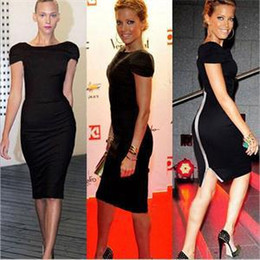 Wholesale Dress For Celebs - 2014Hot New Elegant Celeb Summer Work Party Dress for Women Solid Short Sleeve Zip Tunic Knee-Length Pencil Dress Women S M L XL