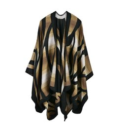 Wholesale Cashmere Poncho Black - Autumn Women Sweater Striped Printed Brown Shawls Knitted Cardigans Coat Sleeveless Loose Women Cloak Black Blue Scarf Poncho