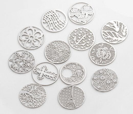 Wholesale float number - NEW 20PCS lot 22MM Silver Plated Mix Styles Round Hollow Floating Window Plates Fit For 30mm Magnetic Memory Glass Locket