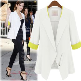 Wholesale Cheap Slim Blazers - Cheap Spring Slim Women Suits Tops Chiffon Casual Suits Mid Sleeve Suit Lady Blazers Work Wear 2017 Fashion