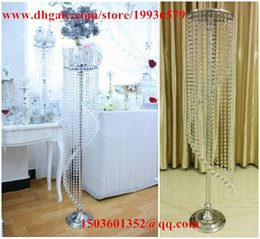 Wholesale Table Decorations Red Crystals - 10 pcs  lotTall 120cm Acrylic Crystal Diamond Cut bead Spiral Chandelier for Wedding red carpet decorations