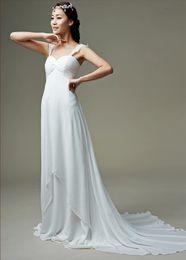 Wholesale Simply Short Chiffon Dresses - HIgh Waist White Chiffon Bridal Gown With Straps Short Train Lightweight Simply Wedding Dress 2015 Summer
